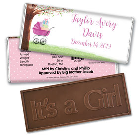 Bonnie Marcus Collection Personalized Embossed Chocolate Bar Chocolate & Wrapper Rockabye Baby Girl Birth Announcement