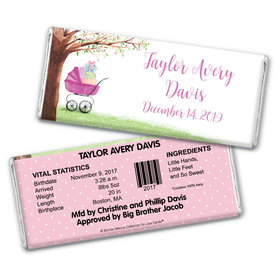 Rockabye Baby Girl Birth Announcement Personalized Candy Bar - Wrapper Only