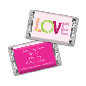 Bonnie Marcus Collection Personalized HERSHEY'S MINIATURES Wrappers Love Girl Birth Announcement