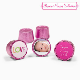 Bonnie Marcus Collection Personalized Pink Rolos Love Girl Birth Announcement (50 Pack)