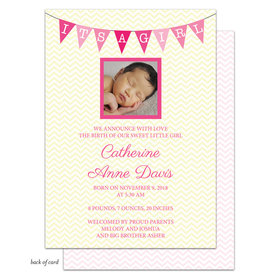 Bonnie Marcus Collection Personalized Chevron Banner Girl Birth Announcement