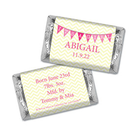Bonnie Marcus Collection Personalized Chocolate Bar It's a Girl Chevron Birth Announcement