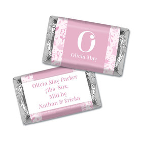 Bonnie Marcus Collection Personalized HERSHEY'S MINIATURES Wrappers Pink Animal Birth Announcement