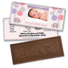 Bonnie Marcus Collection Personalized Embossed It's a Girl Bar Baby Elephants Girl Birth Announcement