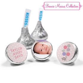 Bonnie Marcus Collection Personalized HERSHEY'S KISSES Candy Baby Elephants Girl Birth Announcement (50 Pack)