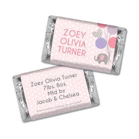 Bonnie Marcus Collection Personalized Hershey's Miniature Baby Elephants Girl Birth Announcement
