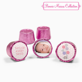 Bonnie Marcus Collection Personalized Pink Rolos Baby Elephants Girl Birth Announcement (50 Pack)