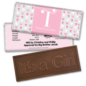 Bonnie Marcus Collection Personalized Embossed It's a Girl Bar Pink Hearts Birth Announcement