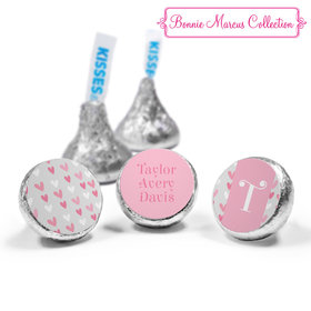 Bonnie Marcus Collection Personalized HERSHEY'S KISSES Candy Pink Hearts Birth Announcement (50 Pack)