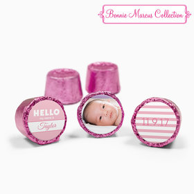 Bonnie Marcus Collection Personalized Pink Rolos Name Tag Girl Birth Announcement (50 Pack)