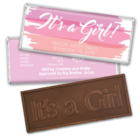 Bonnie Marcus Collection Personalized Embossed It's a Girl Bar Watercolor Girl Birth Announcement