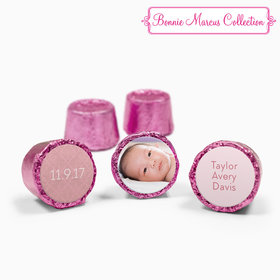 Bonnie Marcus Collection Personalized Pink Rolos Baby Photo Birth Announcement (50 Pack)