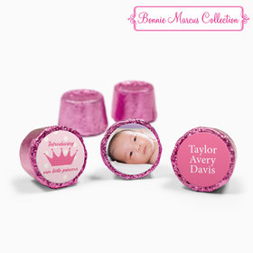 Bonnie Marcus Collection Personalized Pink Rolos Polka Dots & Crown Girl Birth Announcement (50 Pack)