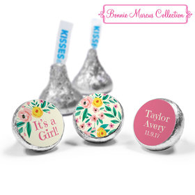 Bonnie Marcus Collection Personalized HERSHEY'S KISSES Candy It's a Girl Flowers Birth Announcement (50 Pack)