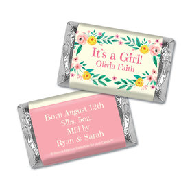 Bonnie Marcus Collection Personalized HERSHEY'S MINIATURES Wrappers It's a Girl Flowers Birth Announcement