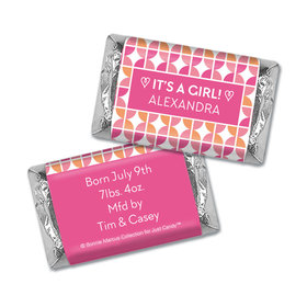 Bonnie Marcus Collection Personalized HERSHEY'S MINIATURES Wrappers It's a Girl Hearts Birth Announcement