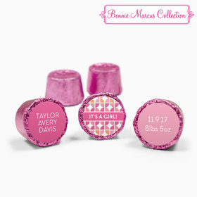Bonnie Marcus Collection Personalized Pink Rolos It's a Girl Hearts Birth Announcement (50 Pack)