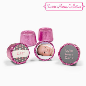 Bonnie Marcus Collection Personalized Pink Rolos Star Girl Birth Announcement (50 Pack)
