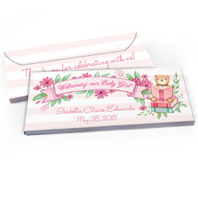 Deluxe Personalized Story Time Baby Girl Announcement Chocolate Bar in Gift Box