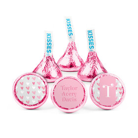 Personalized Girl Birth Announcement Pink Hearts Hershey's Kisses (50 pack)