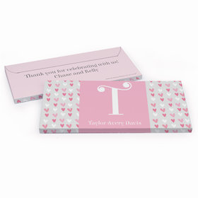 Deluxe Personalized Pink Hearts Baby Girl Announcement Chocolate Bar in Gift Box