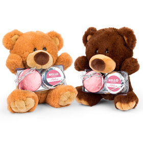 Personalized Bonnie Marcus Birth Announcement Hello Baby Girl Teddy Bear with Chocolate Covered Oreo 2pk