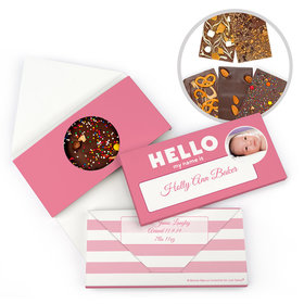 Personalized Bonnie Marcus Birth Announcement Baby Girl Name Tag Gourmet Infused Belgian Chocolate Bars (3.5oz)