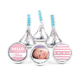 Personalized Girl Birth Announcement Name Tag Hershey's Kisses (50 pack)