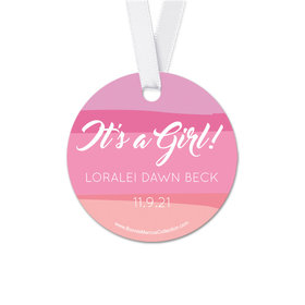 Personalized Baby Girl Bonnie Marcus Watercolor Birth Announcement Round Favor Gift Tags (20 Pack)