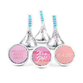 Personalized Girl Birth Announcement Watercolor Hershey's Kisses (50 pack)