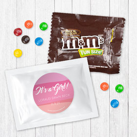 Personalized Girl Birth Announcement It's a Girl Watercolor - Milk Chocolate M&Ms