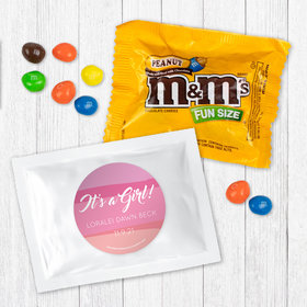 Personalized Girl Birth Announcement It's a Girl Watercolor - Peanut M&Ms