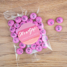 Personalized Girl Birth Announcement Candy Bag with JC Chocolate Minis - Watercolor