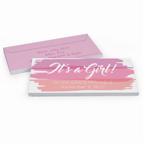 Deluxe Personalized Watercolor Birth Announcement Candy Bar Favor Box