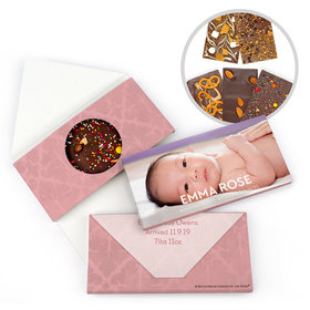 Personalized Bonnie Marcus Birth Announcement Baby Girl Photo Gourmet Infused Belgian Chocolate Bars (3.5oz)