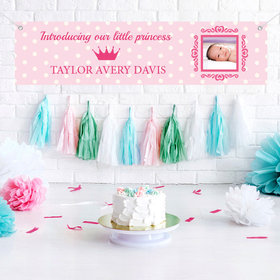 Personalized Polka Dots & Crown Baby Girl Announcements 5 Ft. Banner