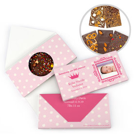 Personalized Bonnie Marcus Birth Announcement Baby Girl Polka Dots & Crown Gourmet Infused Belgian Chocolate Bars (3.5oz)