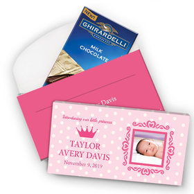 Deluxe Personalized Polka Dots & Crown Birth Announcement Ghirardelli Chocolate Bar in Gift Box