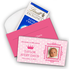 Deluxe Personalized Girl Birth Announcement Dots & Crown Lindt Chocolate Bar in Gift Box