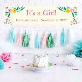 Personalized Pink Flowers Baby Girl Announcements 5 Ft. Banner