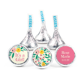 Personalized Girl Birth Announcement Pink Flowers Hershey's Kisses (50 pack)