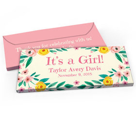 Deluxe Personalized Flowers Baby Girl Announcement Candy Bar Cover