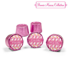 Bonnie Marcus Collection Pink Rolos It's a Girl Hearts Birth Announcement (50 Pack)