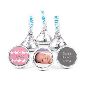 Personalized Girl Birth Announcement Animal Parade Hershey's Kisses (50 pack)