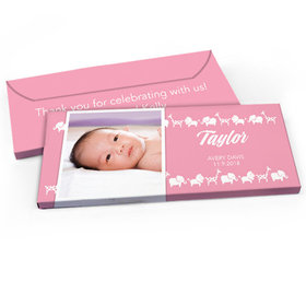 Deluxe Personalized Animal Parade Baby Girl Announcement Chocolate Bar in Gift Box
