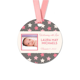 Personalized Baby Girl Bonnie Marcus Star Birth Announcement Round Favor Gift Tags (20 Pack)
