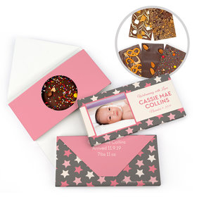 Personalized Bonnie Marcus Birth Announcement Baby Girl Star Girl Gourmet Infused Belgian Chocolate Bars (3.5oz)