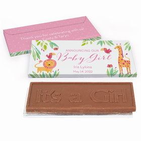 Deluxe Personalized Safari Snuggles Baby Girl Announcement Chocolate Bar in Gift Box