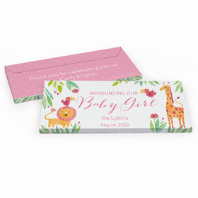 Deluxe Personalized Safari Snuggles Baby Girl Announcement Candy Bar Favor Box