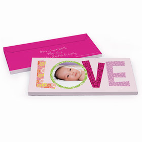 Deluxe Personalized Love Birth Announcement Candy Bar Favor Box